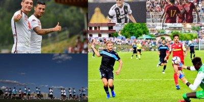 Collage di immagini dai ritiri estivi delle squadre di Serie A.