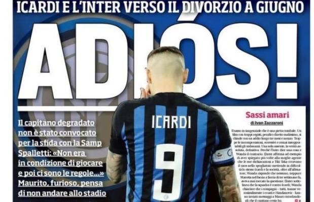 "Prima pagina del Corriere: ""Caos Icardi"""