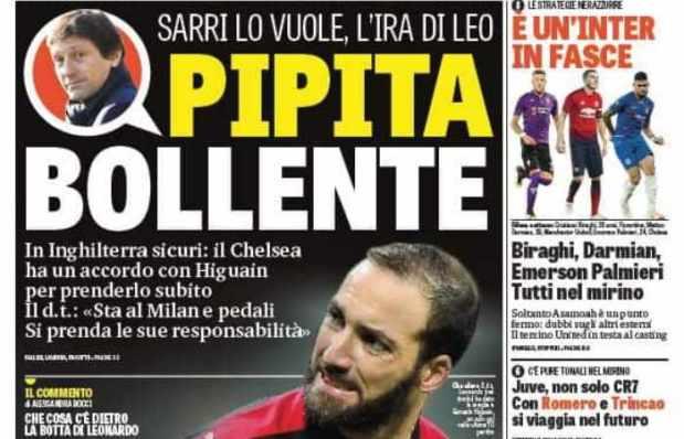 """Prima pagina della Gazzetta: """"Flop Higuain"""""""